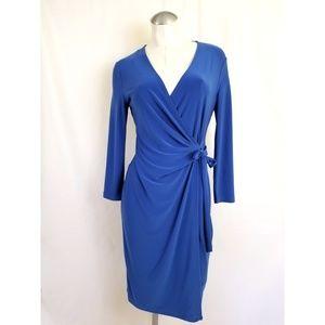 Anne Klein Size 6 Blue Mock Wrap Dress Midi